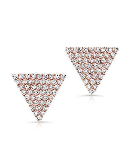 Anne Sisteron - Metallic 14kt Rose Gold Large Diamond Triangle Olivia Stud Earrings - Lyst