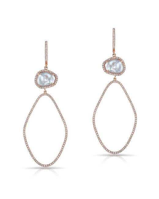 Anne Sisteron - Metallic 14kt Rose Gold Pearl And Diamond Ariella Earrings - Lyst