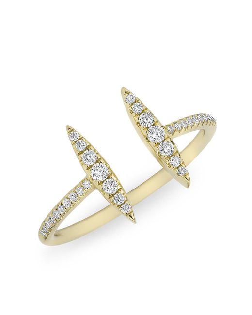 Anne Sisteron | Metallic 14kt Yellow Gold Diamond Double Tower Ring | Lyst