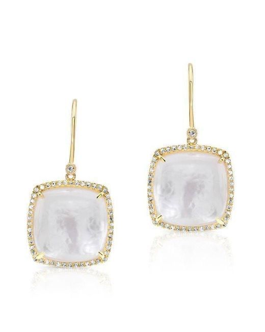 Anne Sisteron - Metallic 14kt Yellow Gold Diamond Mother Of Pearl Cushion Cut Earrings - Lyst
