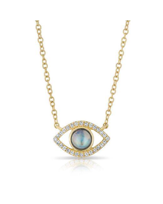 Anne Sisteron - Metallic 14kt Yellow Gold Diamond Open Moonstone Evil Eye Sukie Necklace - Lyst