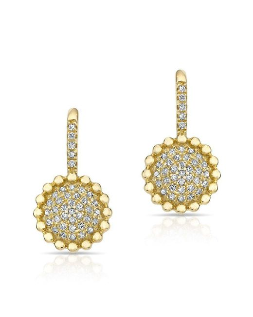 Anne Sisteron - Multicolor 14kt Yellow Gold Diamond Scalloped Wireback Earrings - Lyst