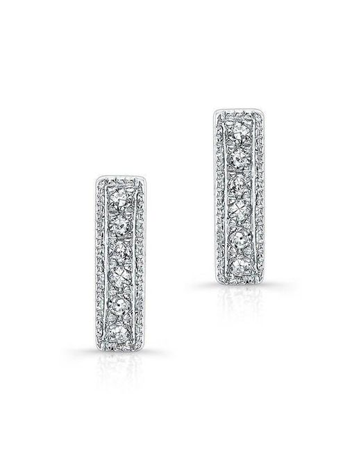 Anne Sisteron | 14kt White Gold Diamond Mini Edge Bar Earrings | Lyst