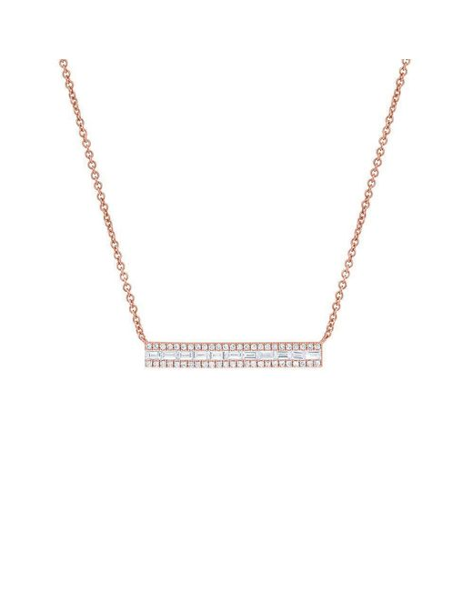 Anne Sisteron - Metallic 14kt Rose Gold Baguette Diamond Brick Necklace - Lyst