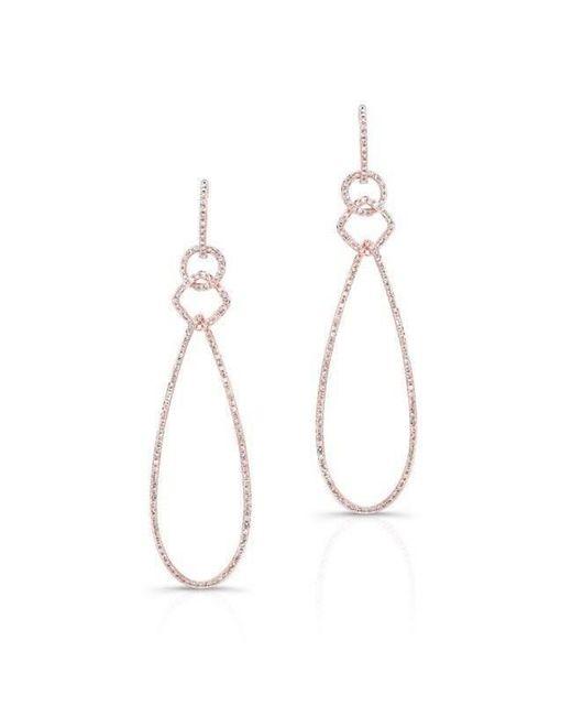 Anne Sisteron | Metallic 14kt Rose Gold Diamond Open Pear Link Drop Earrings | Lyst