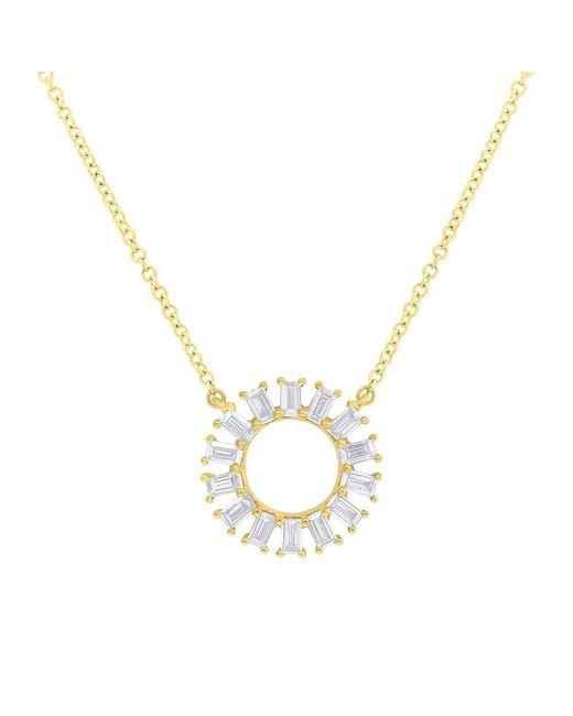 Anne Sisteron - Metallic 14kt Yellow Gold Baguette Diamond Disc Necklace - Lyst