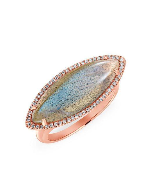 Anne Sisteron - Multicolor 14kt Rose Gold Labradorite Diamond Marquis Ring - Lyst