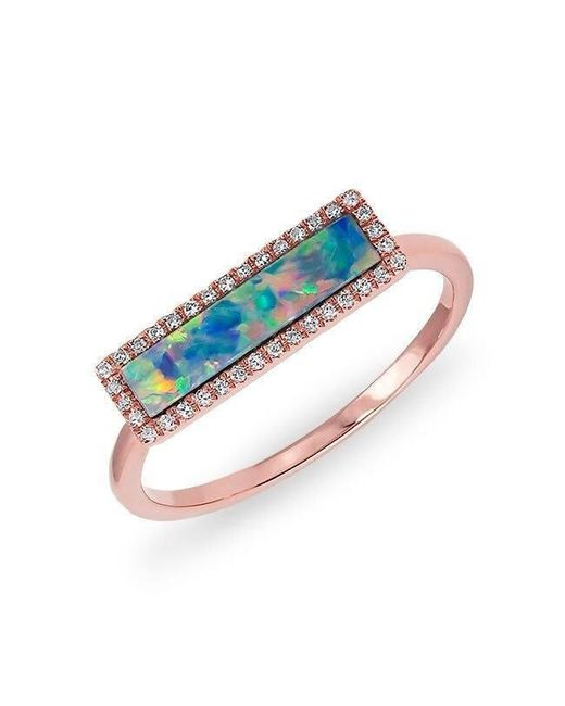 Anne Sisteron - Blue 14kt Rose Gold Opal Diamond Brick Ring - Lyst