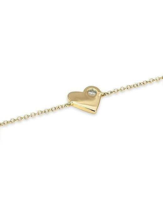 Anne Sisteron - Metallic 14kt Yellow Gold Diamond In My Heart Bracelet - Lyst
