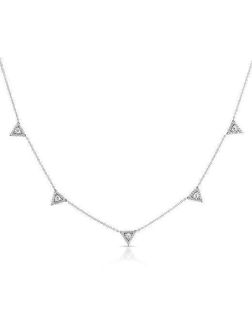 Anne Sisteron - Metallic 14kt White Gold Diamond Trinity Triangle Necklace - Lyst