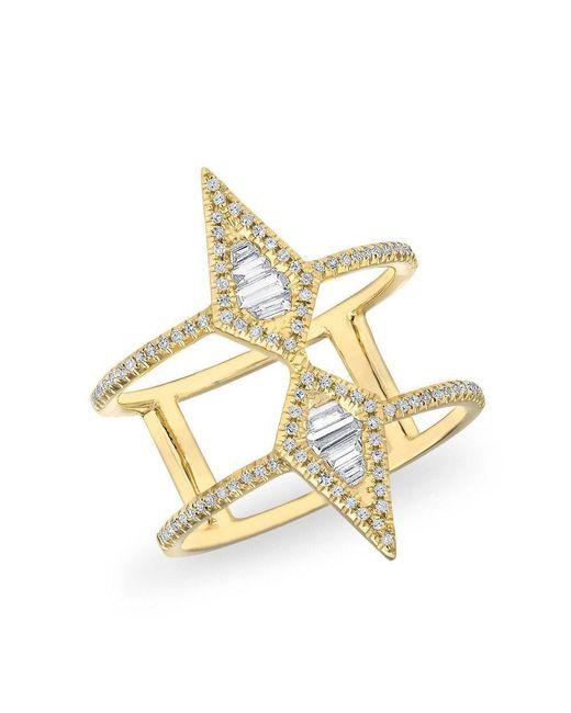 Anne Sisteron | Metallic 14kt Yellow Gold Baguette Diamond Double Spear Ring | Lyst