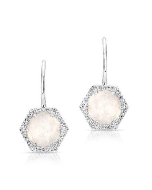 Anne Sisteron - Metallic 14kt White Gold Opal Diamond Hexagon Wireback Earrings - Lyst