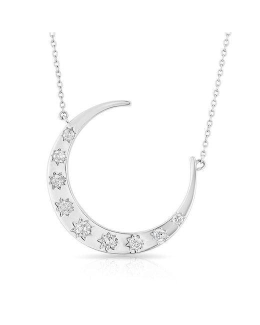 Anne Sisteron - Metallic 14kt White Gold Diamond Luxe Starlight Moon Necklace - Lyst