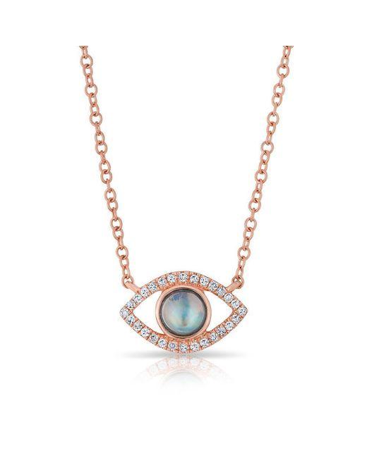 Anne Sisteron - Metallic 14kt Rose Gold Diamond Open Moonstone Evil Eye Sukie Necklace - Lyst
