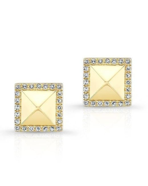 Anne Sisteron - Metallic 14kt Yellow Gold Diamond Edged Pyramid Stud Earrings - Lyst