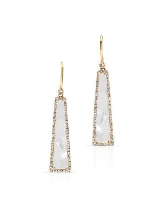 Anne Sisteron - Metallic 14kt Yellow Gold Mother Of Pearl Diamond Hampton Earrings - Lyst