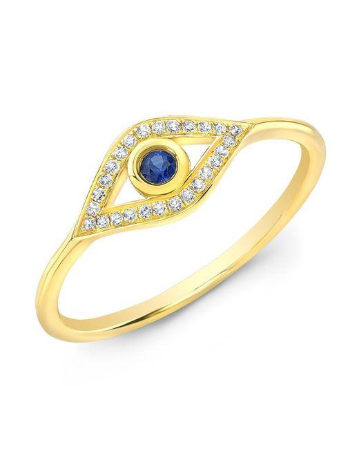 Anne Sisteron - Metallic 14kt Yellow Gold Diamond Sapphire Open Evil Eye Ring - Lyst