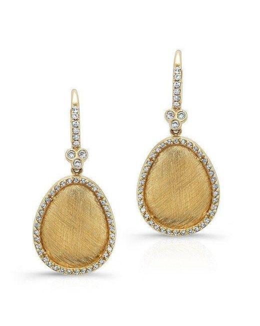Anne Sisteron | Metallic 14kt Yellow Gold Diamond Fancy Shape Triple Bezel Earrings | Lyst