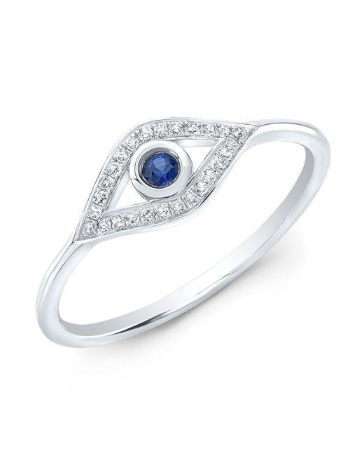 Anne Sisteron | Metallic 14kt White Gold Diamond Sapphire Open Evil Eye Ring | Lyst
