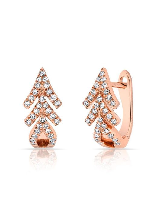 Anne Sisteron - Metallic 14kt Rose Gold Diamond Pine Huggie Earrings - Lyst