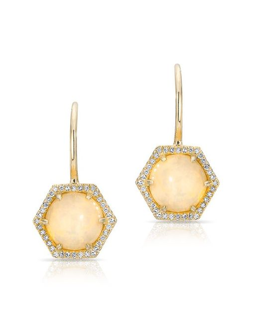 Anne Sisteron | Metallic 14kt Yellow Gold Opal Diamond Hexagon Wireback Earrings | Lyst