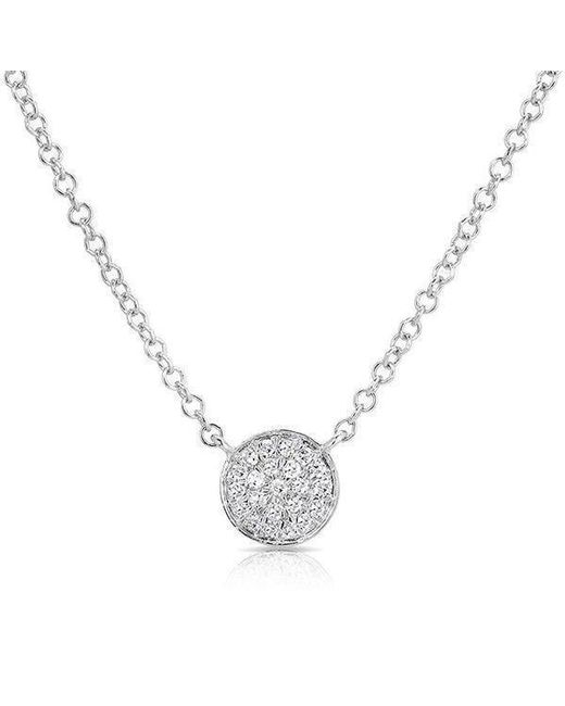Anne Sisteron - Metallic 14kt White Gold Diamond Mini Disc Necklace - Lyst