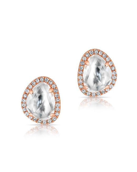 Anne Sisteron - Metallic 14kt Rose Gold Mini Organic Topaz Diamond Stud Earrings - Lyst