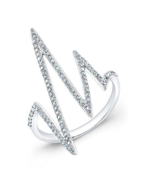 Anne Sisteron - Metallic 14kt White Gold Diamond Heartbeat Ring - Lyst