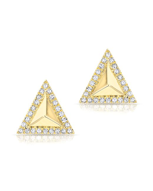 Anne Sisteron - Metallic 14kt Yellow Gold Diamond Triangle Pyramid Stud Earrings - Lyst