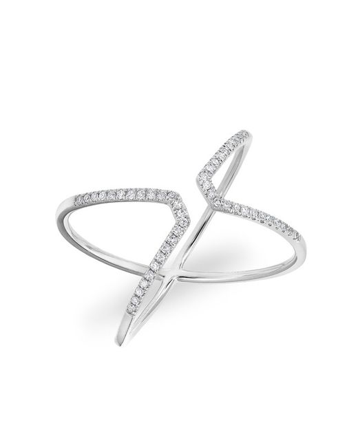 Anne Sisteron | 14kt White Gold Diamond Open X Ring | Lyst