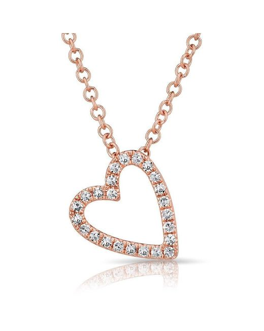 Anne Sisteron - Metallic 14kt Rose Gold Diamond Open Heart Necklace - Lyst