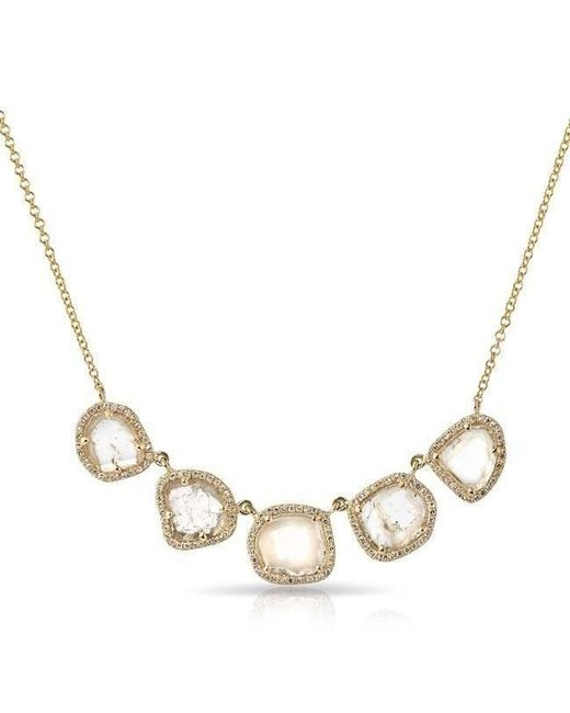 Anne Sisteron - Metallic 14kt Yellow Gold 5 Diamond Slice Princess Necklace - Lyst