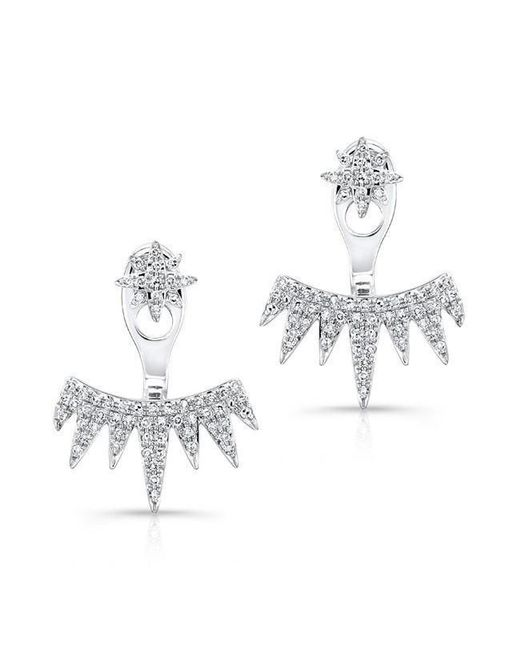 Anne Sisteron - Metallic 14kt White Gold Diamond Spiked Tiara Floating Earrings - Lyst