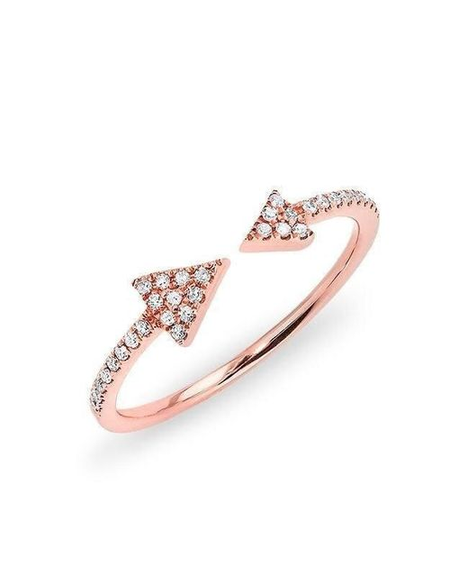 Anne Sisteron | Multicolor 14kt Rose Gold Diamond Open Double Triangle Ring | Lyst