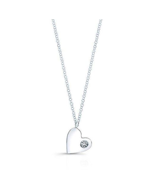 Anne Sisteron - 14kt White Gold Diamond In My Heart Necklace - Lyst