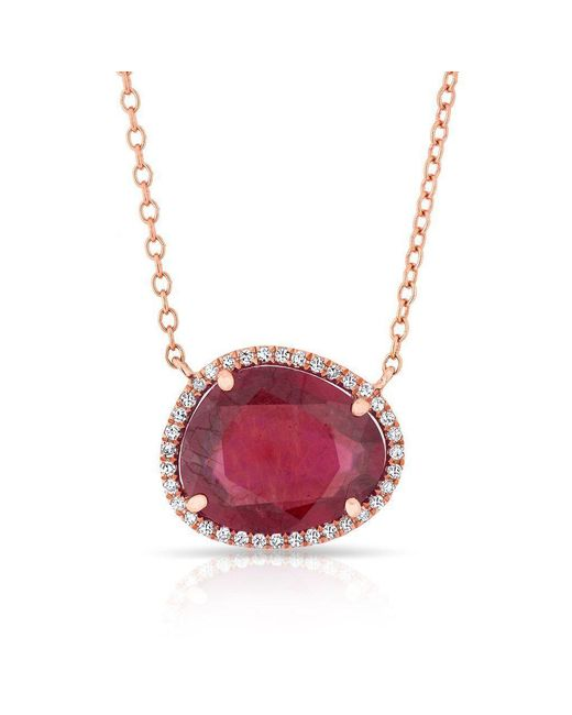 Anne Sisteron - Pink 14kt Rose Gold Ruby Diamond Jasmine Necklace - Lyst