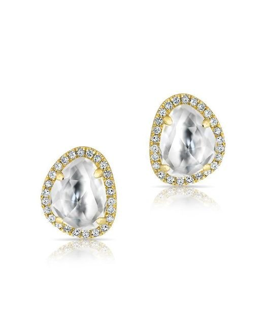 Anne Sisteron - Metallic 14kt Yellow Gold Mini Organic Topaz Diamond Stud Earrings - Lyst