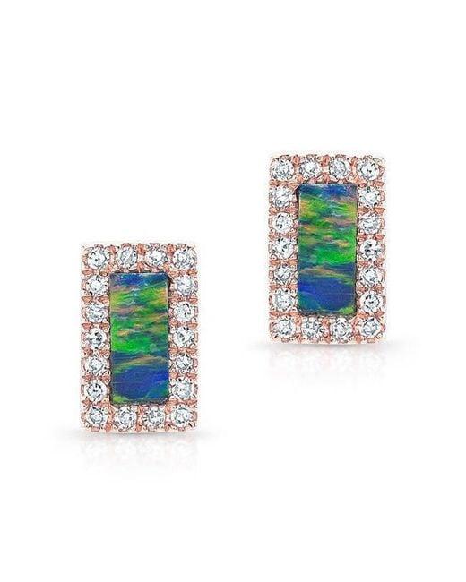 Anne Sisteron - Multicolor 14kt White Gold Opal Diamond Bar Stud Earrings - Lyst