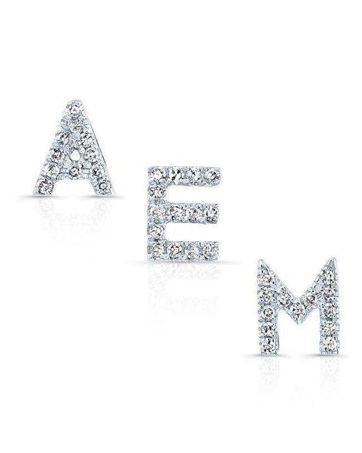 Anne Sisteron - Metallic 14kt White Gold Diamond Initial Stud Earring - Lyst