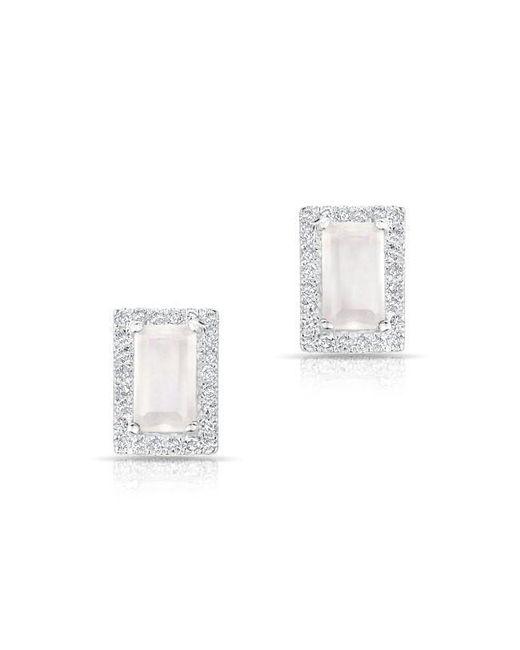 Anne Sisteron - Multicolor 14kt White Gold Moonstone Diamond Mini Rectangle Stud Earrings - Lyst