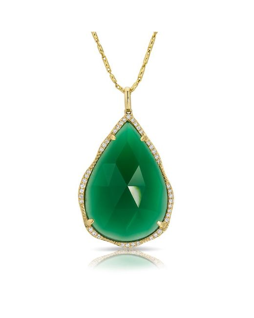 Anne Sisteron | 14kt Yellow Gold Green Agate Diamond Pear Pendant Necklace | Lyst
