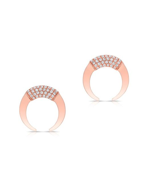 Anne Sisteron - Pink 14kt Rose Gold Diamond Mini Taureau Stud Earrings - Lyst