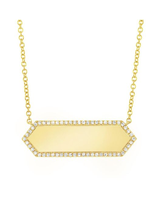 Anne Sisteron - Metallic 14kt Yellow Gold Diamond Rimmed Bar Necklace - Lyst