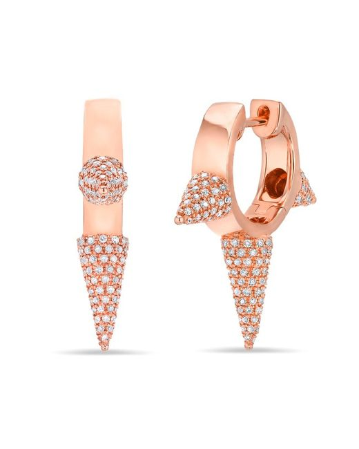 Anne Sisteron | Pink 14kt Rose Gold Diamond Extreme Punk Rock Huggie Earrings | Lyst