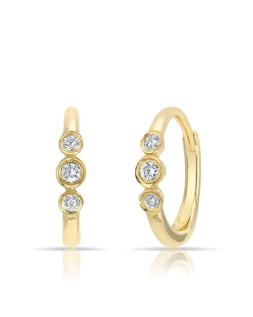 Anne Sisteron - Metallic 14kt Yellow Gold Diamond Hazel Bezel Huggie Earrings - Lyst