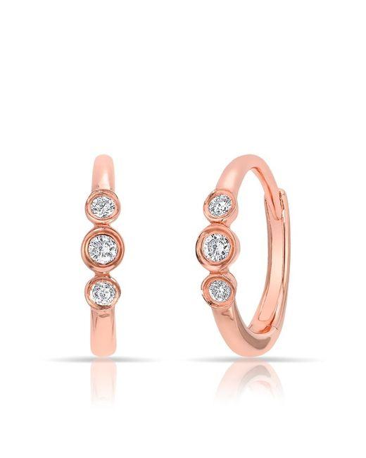 Anne Sisteron - Pink 14kt Rose Gold Diamond Hazel Bezel Huggie Earrings - Lyst