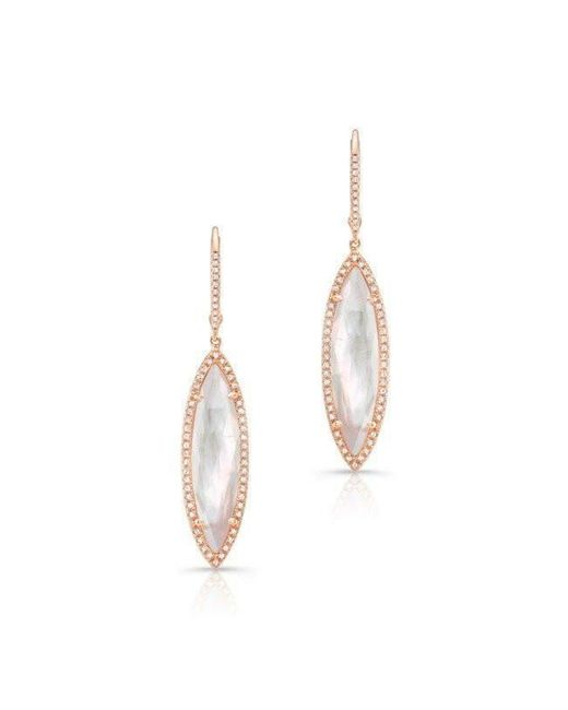 Anne Sisteron | Metallic 14kt Rose Gold Diamond Mother Of Pearl Small Celeste Marquis Earrings | Lyst