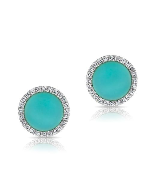 Anne Sisteron | Blue 14kt White Gold Turquoise Diamond Disc Stud Earrings | Lyst