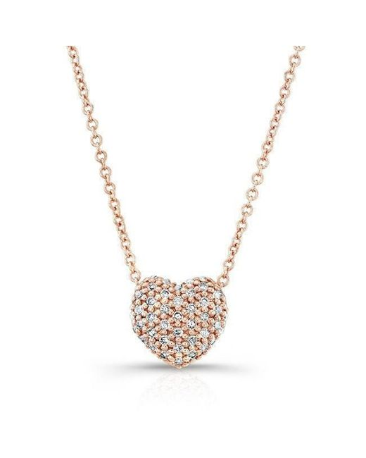 Anne Sisteron - Metallic 14kt Rose Gold Diamond Rounded Heart Necklace - Lyst