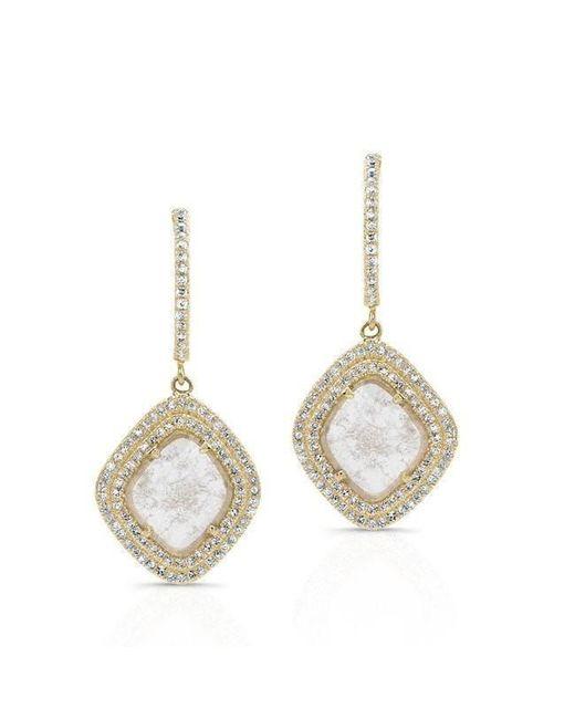 Anne Sisteron - Metallic 14kt Yellow Gold Diamond Slice Double Halo Earrings - Lyst